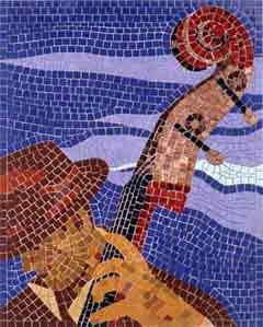 Bass Player mosaic by Jo Letchford