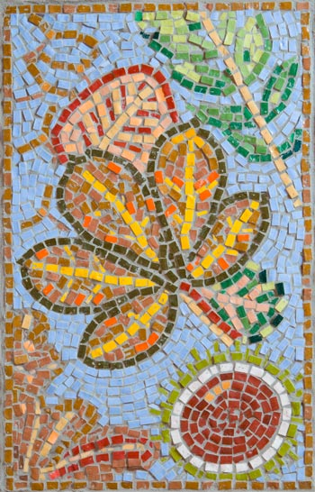 Autumn mosaicmade by Cancer Services patient at the QEQM Hospital, Margate, Kent with the help and assistance of Jo Letchford mosaic artist