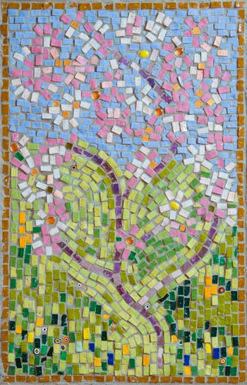 Spring mosaicmade by Cancer Services patient at the QEQM Hospital, Margate, Kent with the help and assistance of Jo Letchford mosaic artist