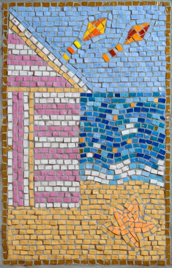 Summer mosaicmade by Cancer Services patient at the QEQM Hospital, Margate, Kent with the help and assistance of Jo Letchford mosaic artist