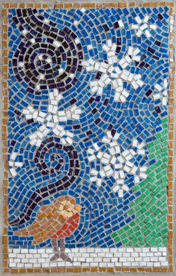 Winter mosaicmade by Cancer Services patient at the QEQM Hospital, Margate, Kent with the help and assistance of Jo Letchford mosaic artist